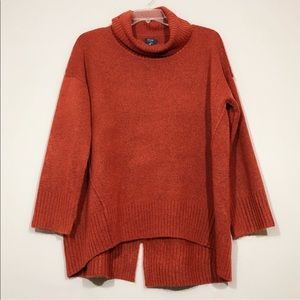 Kaari Blue | Rustic Red Cowl Neck Hi-Low Sweater